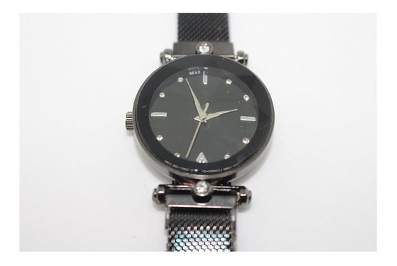 Relógio Feminino Masculino Pulseira Magnética Aço Inox Preto