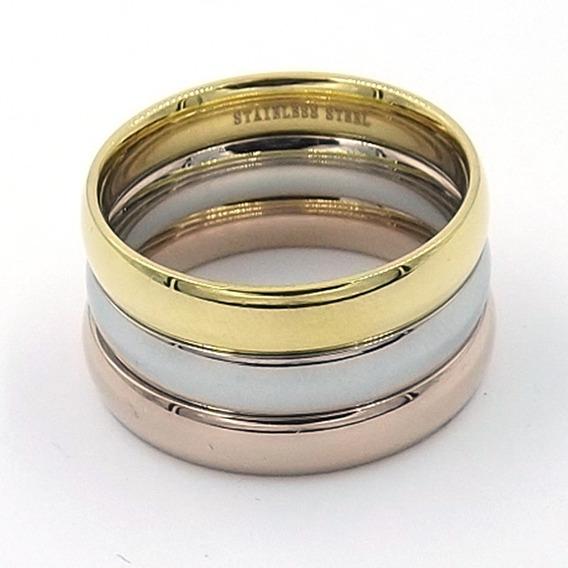 Anillo Triple De Acero Clásico Dorado Oro Rosa Plateado Eg