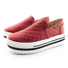Tênis Flatform Quality Shoes 004 Matelassê Vermelho Sola Alt