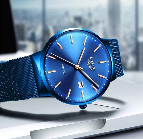 Relógio Masculino Lige Ultra Fino Azul Moderno A Prova D