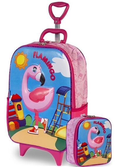Mochilete Soft Flamingo 3d Mochila Escolar + Lancheira