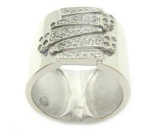 A9112-03633 Vivara Anel De Ouro Branco Costuras Com Diamante