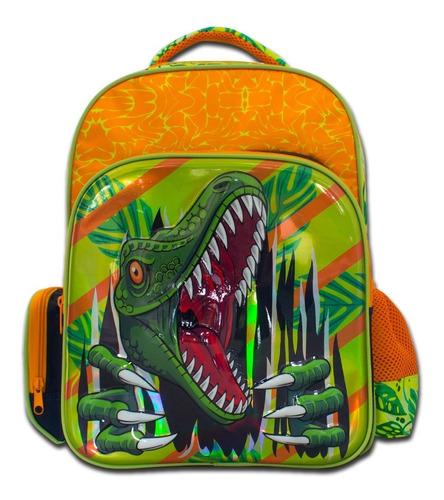 Imagen 1 de 6 de Mochila Escolar Infantil De Dinosaurio Resistente Tutti