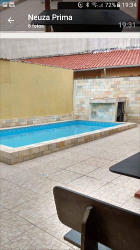 5255 - Casa 3 Dormitórios Lado Praia Piscina Mongaguá
