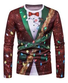 Camiseta De Navidad Corbata Impresa 3d Para Caballero