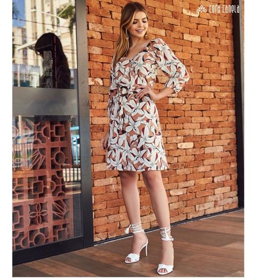 Vestido Floral Gg Tamanho 46/48 Plus Size Com Cinto