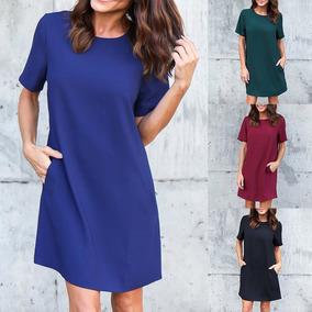 New Casual Women Chiffon Mini Dress Solid Color Round Neck