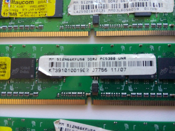 Dimm 512mb Ddr2 667mhz Pc 5300 Kit Com 3 Pentes