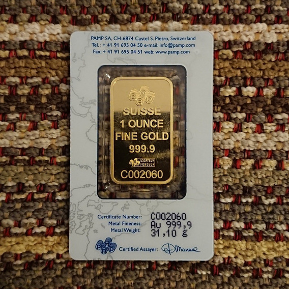Lingote De Oro 31,10 Gramos - 24 K - Certificado Numerado