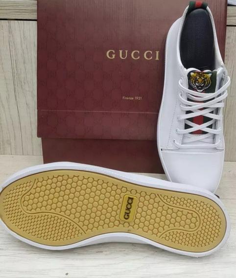 Tenis Gucci Couro Preto Branco Marrom Mega Oferta Original