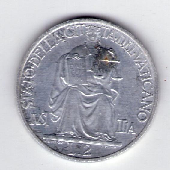 Vaticano 2 Liras Año 1948 Papa Pio Xii Sin Circular