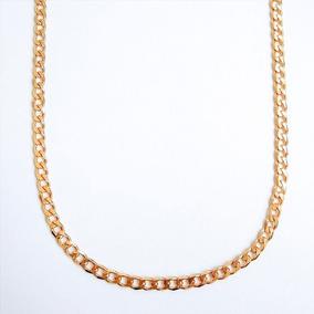 Corrente Masculina Grumet Larga 60cm Pesada Semijoia Ouro 18