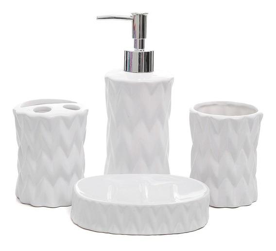 Kit Banheiro Lavabo Porta Sabonete Líquido Porcelana Branco