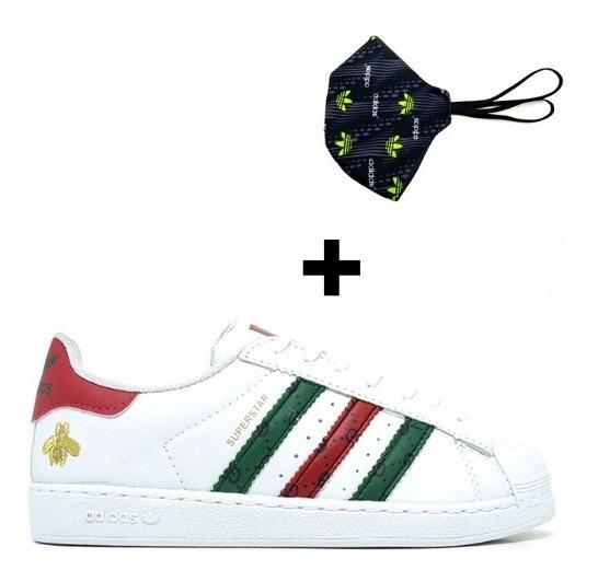 Kit Tenis Masculino Feminino Superstar Gucci Casual +máscara
