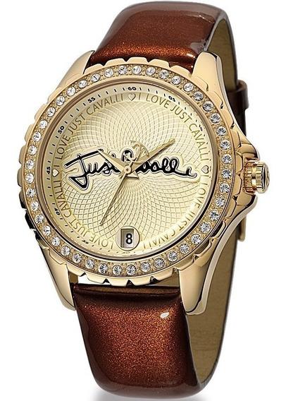 Relógio Feminino Original Dourado Pulseira De Couro Legítimo