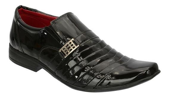 Sapato Social Masculino Em Couro Fashion Leoppé Verniz Preto