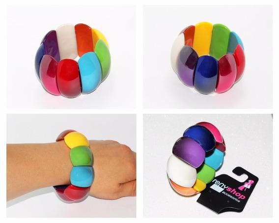 Pulsera Moda Cuentas Ovaladas Colores Bisuteria Dama Pc311