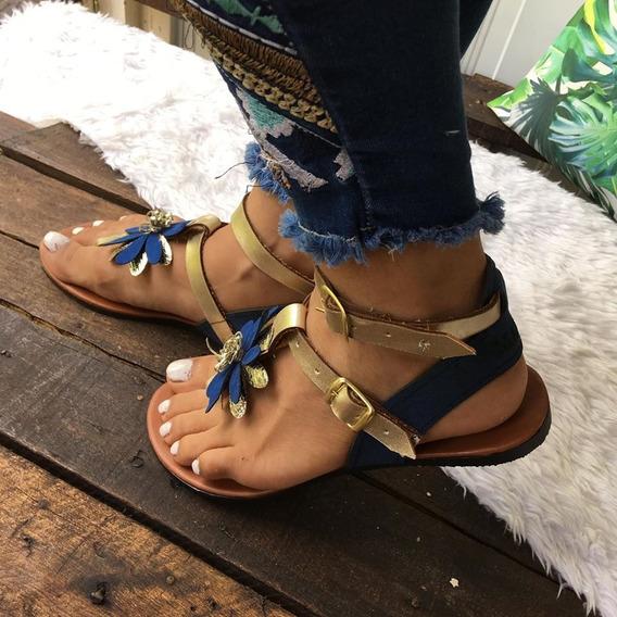 Sandalias /huaraches De Piso Flores Azul Rey - Plateado