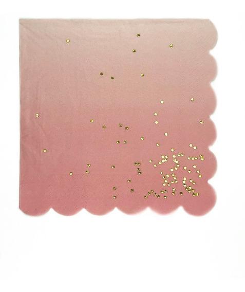 Servilletas Confetti Aqua Blanca Y Rosa Con Dorado X20u