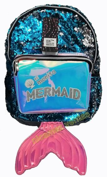Mochila Sirena Mermaid Lentejuela Reversible Envío Gratis