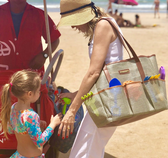 Bolsa Maternidade Praia Bege Tela Mãe