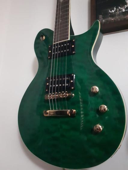 Guitarra Phx Lp Prs Oliverschen Top Lpv 8 Tigrada Verde