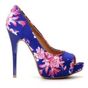 a0d5680cc6 Peep Toe Royalz Tecido Floral Salto Alto Fino Cravo Roxo
