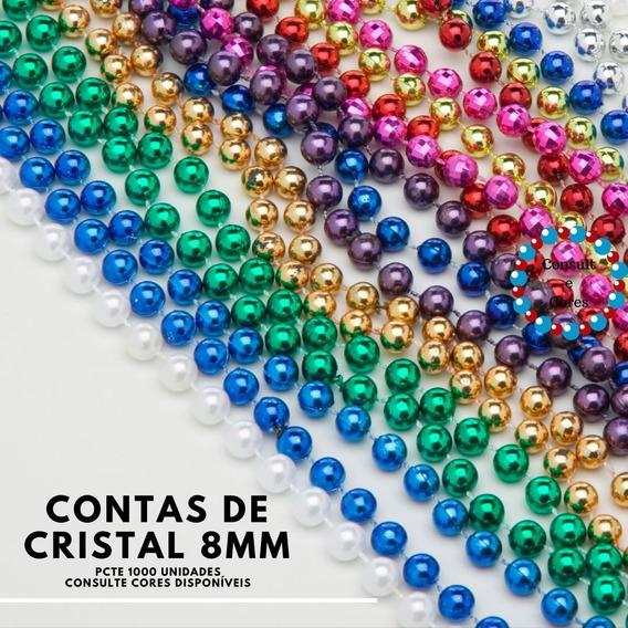 1000 Contas De Cristal Vidro 8mm Várias Cores Prontaentrega