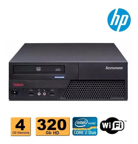Cpu Desktop Lenovo Core 2 Duo 4gb 320gb Wifi Super Oferta