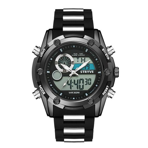 Stryve S8006 Dual Exibição Relógio Digital Cronógrafo Alarme