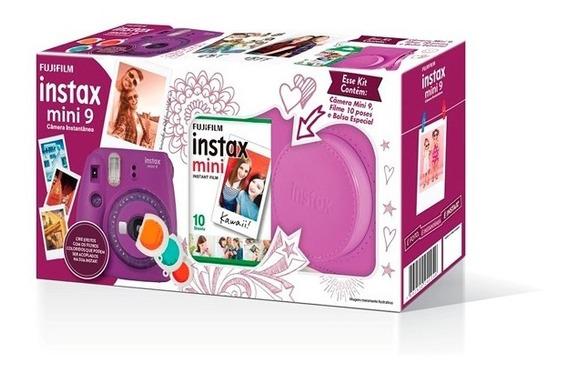 Kit Câmera Instantânea Mini 9 Roxo Açaí + Bolsa + 70 Filmes
