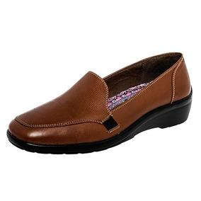 Zapatos Confort Flats Ve Tabaco Dama Piel Camel 52878 Dtt