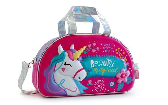 Bolso Unicornio Con Frente 3 D 1 Cierre