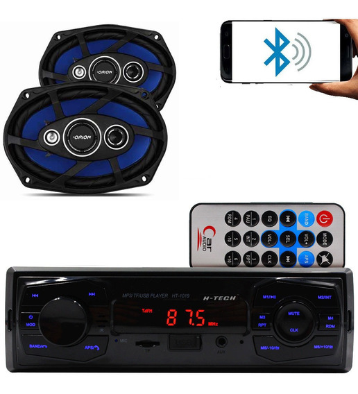Kit Som Auto Radio Mp3 Bluetooth Aux + Falante 6x9 Pol Orion