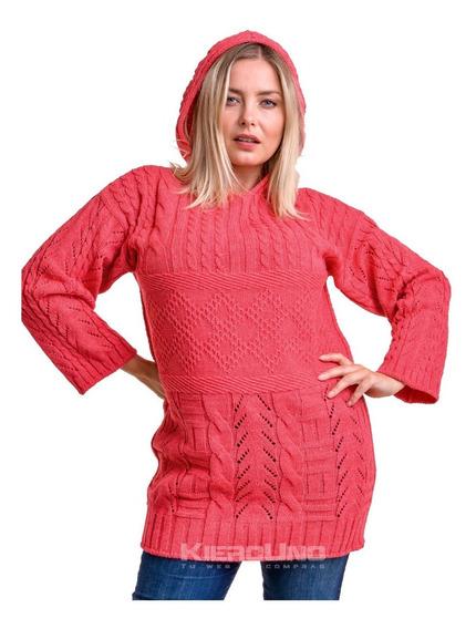 Sweater Con Capucha Saco Lana Rojo Kierouno