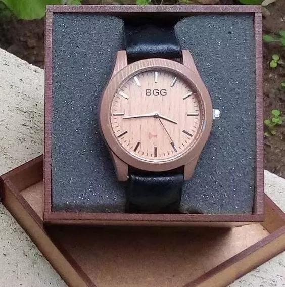 Relógio Barato Feminino B G G Imitação Madeira Promoção Luxo