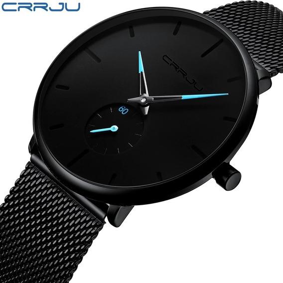 Relógio Masculino Crrju Original Esportivo Aço Inox Promoção