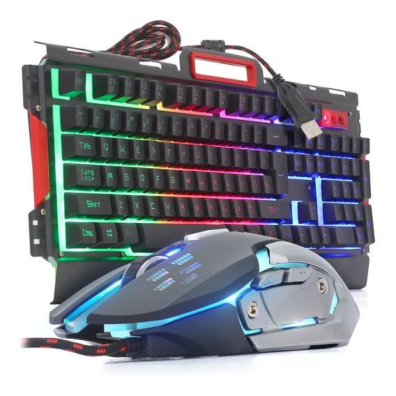 Kit Teclado Mouse Gamer Iluminado Bk3000 Metal Semi Mecânico