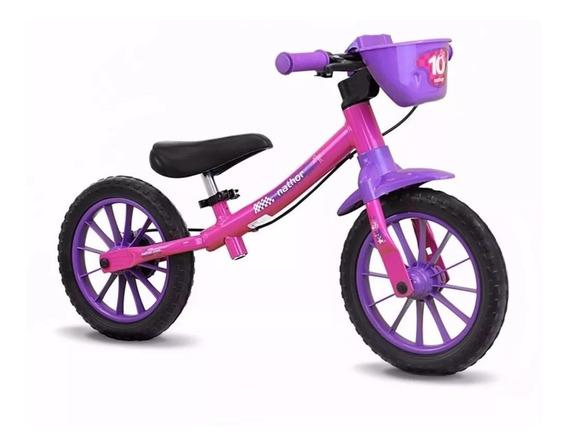Bicicleta Balance Infantil Sem Pedal Equilíbrio Rosa Nathor