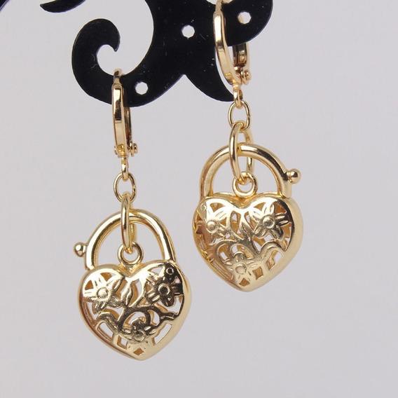 Brincos 18k Ouro Goldfiled Coração Cadeado Apaixonante! K820