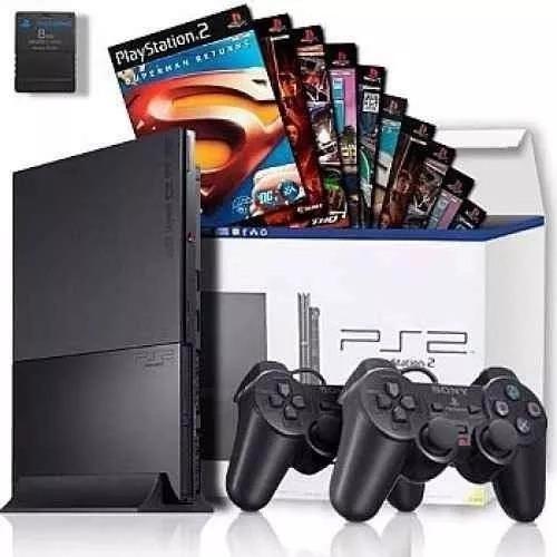 Playstation 2 Slim Novo Na Caixa Com 2 Controles + 25 Jogos