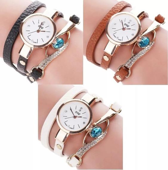 Relógio Feminino Bracelete Strass Pulseira Couro
