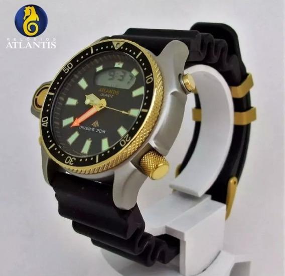 Relógio Atlantis Jp2000 Série Ouro Borracha Citizen