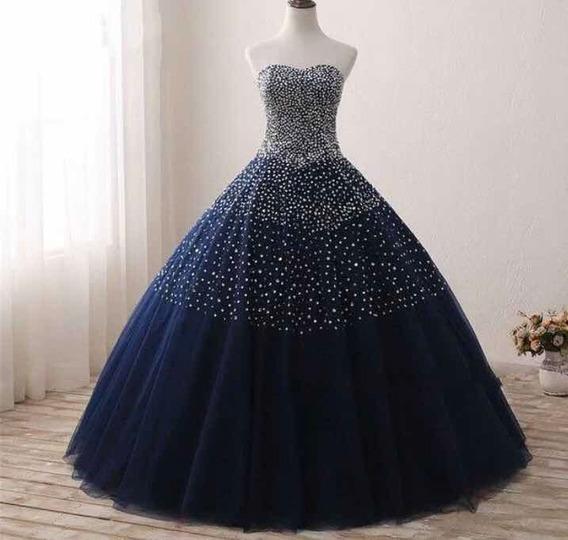 Vestido Quinceañera Azul 15 Años Nuevo