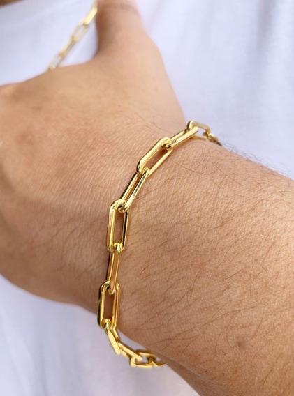 Pulseira Masculina Com Elo Cartier Folheada Ouro 24k