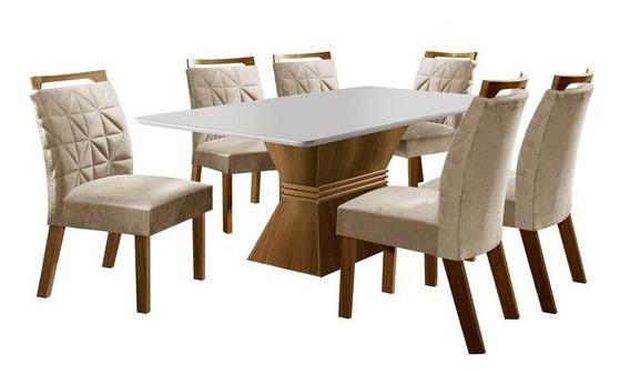 Mesa De Jantar Em Mdf, 6 Cadeiras, Impressão Uv - Lj Móveis Cronos