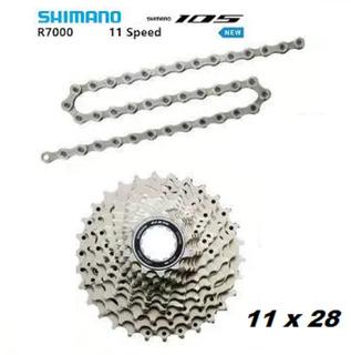 Cassete 105 R7000 11x28 11v + Corrente Shimano Hg601 11v