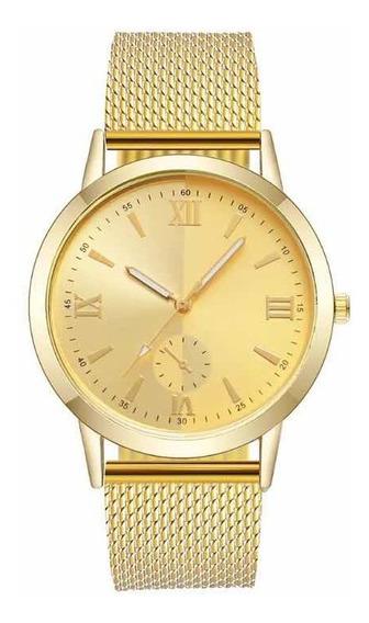 Relógio Feminino Barato Pulseira De Plástico Dourado
