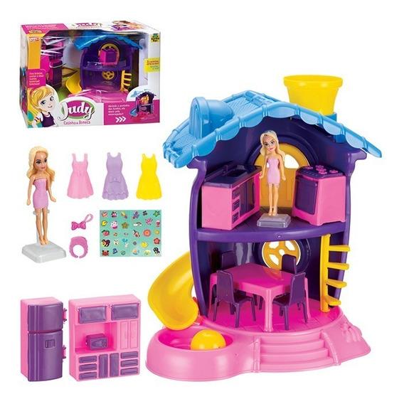 Casa De Boneca Cozinha C/ Escorregador E Acessórios Judy