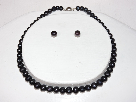 Collar Perla Cultivada Negro Oferta 7-8 Mm Nr. 8328